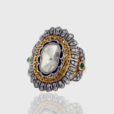 Victorian Natural Rose Cut Diamond & Diamond Polki 925 Sterling Silver Ring