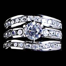 *SIMPLY ELEGANT*__CZ__3-RING WEDDING SET SZ-4__925 STERLING SILVER - NF