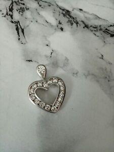 Russian Sterling silver CZ 925 & channel cubic zirconia open heart pendant.
