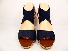 Liz Claiborne Dapper High Heels Platform Sandals Slingbacks Denim Size 7M