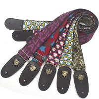 Printed Guitar Strap&Genuine Leather Ends Adjustable For Bass Acoustic Classical