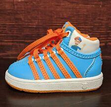 "Blippi K-Swiss Classic VN Mid Orange Blue Leather Shoes ""Infant"" Toddler 4C size"