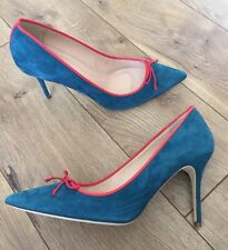 JCrew Elsie Suede Pumps With contrast trim Indian Blue $248 F4868 10 SOLD-OUT!