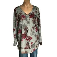 NWT Ellen Tracy Womens Tunic Top XL Pink Gray VNeck Soft Relaxed Fit Shirt A25