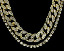 Hip Hop Iced Out 2pc Chain Set 14k Gold Plated 1 Row Cuban Link Cz Necklaces
