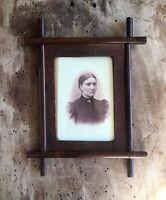 Folk Tramp Art Antique Mahogany Frame Photo Wooden Carved Rectangular 1800 old