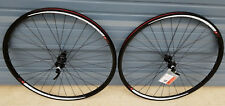 700c 11 speed road bike wheels Shimano 105 hubs black Mach 1 aero rims black