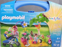 Playmobil US 9103 Fmily Picnic Carry Case Picknick Baby Kinderwagen Dreirad NEU