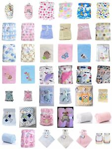 Newborn Soft Cosy Fleece Blankets Pram Crib Moses Basket Blanket & Comforters