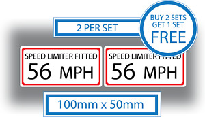 2 X Speed Limit Stickers 56 MPH Van Bus Coach Car Business 100x50 Limiter Fitted