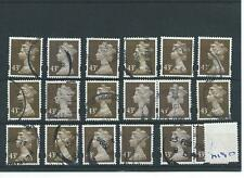 GB - WHOLESALE - MACHIN DEFINITIVES - MA190. 43p OLIVE/BROWN - 18  COPIES - USED