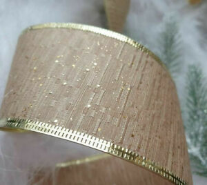 1m x 62mm LUXURY WIRED EDGE CHRISTMAS RIBBON CHAMPAGNE BEIGE & GOLD WITH SPARKLE