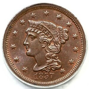 1857 N-2 PCGS MS 64 BN CAC Braided Hair Large Cent Coin 1c