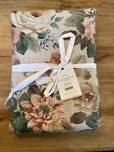 Pottery Barn Rita Floral Full Queen Duvet Cover Linen blend NEW NWT pink green