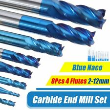 8pcs/set 2-12mm 4 Flutes Carbide End Mill Set Tungsten Steel Milling Cutter Tool