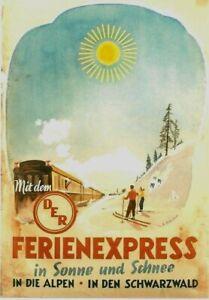 Original vintage poster WINTERSPORTS SKI GERMAN TRAIN c.1950
