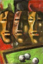 "Avant-garde Ukrainian painter Oil on canvas ""Billiard players"" 59x39 cm"