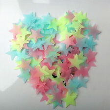 100 Pcs 3D Stars Glow In The Dark Luminous Fluorescent PVC Wall Stickers 3.8cm H