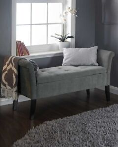 Fabric Upholstered Storage Bench Bed End Window Seat Bedroom Living Room Grey