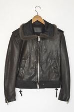 *STUNNING* AllSaints Ladies Shearling collar Leather Bomber Jacket UK10 US6