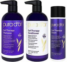 PURA D'OR Dor Curl Therapy Shampoo, Conditioner & Styling Cream 3-Piece System