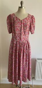 Laura Ashley 1980s Pink Floral Dress Vintage Size 16, Made in UK