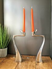 SUPERB PAIR OF DESIGNER MODERNIST ALUMINIUM CANDLESTICK CANDLE HOLDERS SPACE AGE