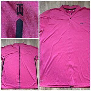 NIKE GOLF TIGER WOODS COLLECTION BLADE COLLAR SHIRT DRI FIT Henley Mens, XL