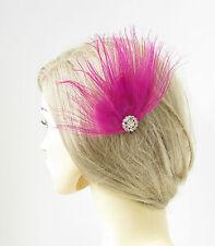 Fuchsia Argent Plume De Paon Peigne À Cheveux Fascinateur Vintage 1920s Coiffe
