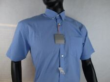 Thomas Dean Dress Shirt Size Small New 89$ Blue Micro Gingham Check Short Sleeve