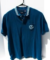 CHAPS POLO MENS SHORT SLEEVE SHIRT W/FRONT POCKET, XXL, MARINE BLUE