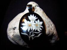 seltenes Jugendstil Medallion Email Blumen Edelweis