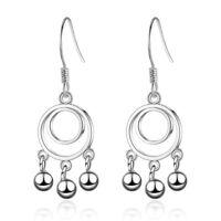 Women Fashion Jewelry 925 Sterling Silver Beads Round Dangle Hook Earrings Gift