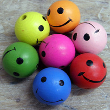 10 x SMILEY FACE WOODEN BRIGHT BEADS, DOLLS HEADS 25MM DOLL MODEL CRAFT BEAD