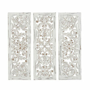 Zimlay Rustic Carved Wood Ornate Set Of 3 Wall Panels 86486
