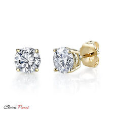 4 CT Round Cut A+ CZ Yellow Sterling Silver Solitaire Stud Earrings Push Back GF