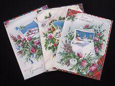 Rare Set of 3 Vintage Valentine'S Cloth Of Gold Christmas Card Tartan Heather Uk