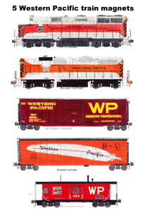 Western Pacific Freight Train 5 magnets by Andy Fletcher
