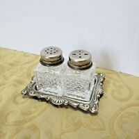 Vtg Mini Silver Plated Crystal Salt And Pepper Shaker With Tray EP on Steel Itay