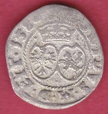R* POLAND LITHUANIA SILVER SOLIDUS SCHILLING 1584 STEPHEN BATHORY VF DETAILS RAR