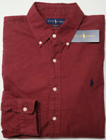 NEW $89 Polo Ralph Lauren Oxford Long Sleeve Shirt Mens Burgundy Red Classic Fit