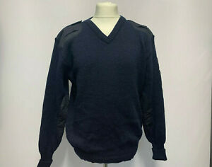 Combat Nato Security Work 100% Wool Jumper V Neck Police Military Style Navy Blu