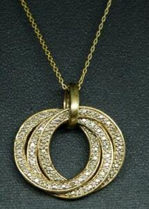 real diamond gold on sterling 3 eternity interlocking ring pendant necklace RSE
