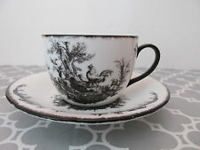 French Country Black & White Rooster, Chicken & Bird Toile Cup & Saucer Set