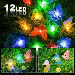 12 LED Solar Powered Butterfly String Lamp Outdoor Garden Path Fairy Light Decor