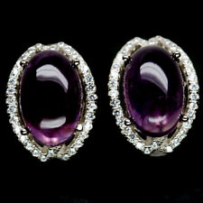 NATURAL 8 X 12mm. PURPLE AMETHYST & WHITE CZ STERLING 925 SILVER EARRINGS