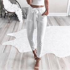 Womens High Waist Casual Drawstring Elastic Long Pants Pencil Trousers Striped