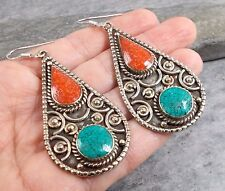 Large Nepal Tibet Silver TURQUOISE RED CORAL Earrings E503~Silverwave*uk
