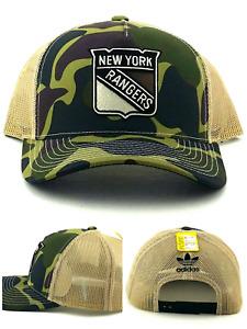 New York Rangers Adidas New Camo Black Tan Mesh Trucker Era Stnapback Hat Cap