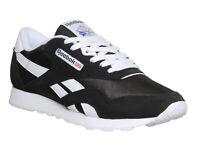Mens Reebok Cl Nylon Black White Trainers Shoes